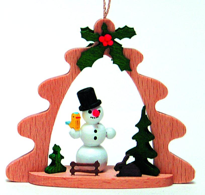 Snowman German Wood Christmas Tree Ornament Holiday Decoration New ...