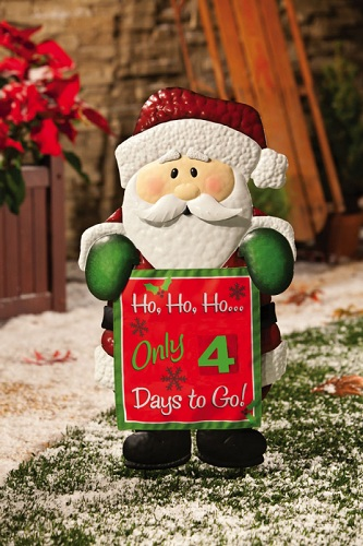 santa claus metal christmas countdown garden stake 489521 outdoor decoration ebay. Black Bedroom Furniture Sets. Home Design Ideas