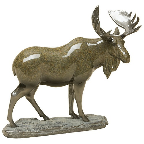 Big sky carvers marsh king moose stonecast sculpture