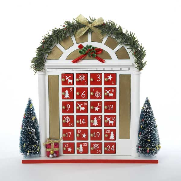Wooden front door with trees and garland christmas for 12 days of christmas door decoration