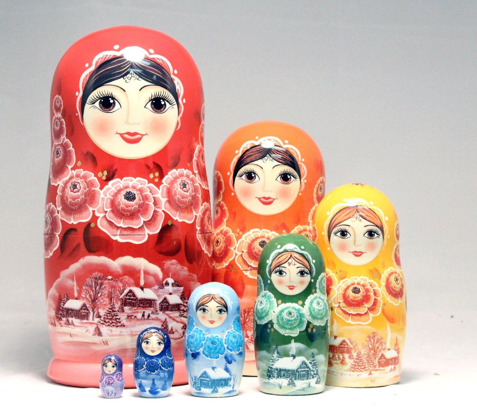 rainbow colored russian wood nesting 7 doll matryoshka