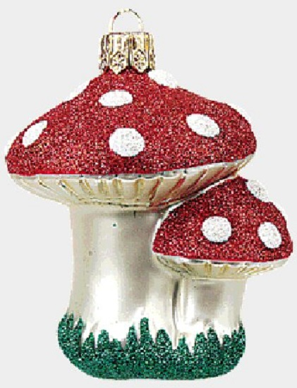 Mushrooms Polish Glass Christmas Tree Ornament Made in ...