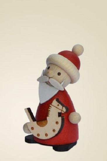 Erzgebirge santa with rocking horse german wood miniature