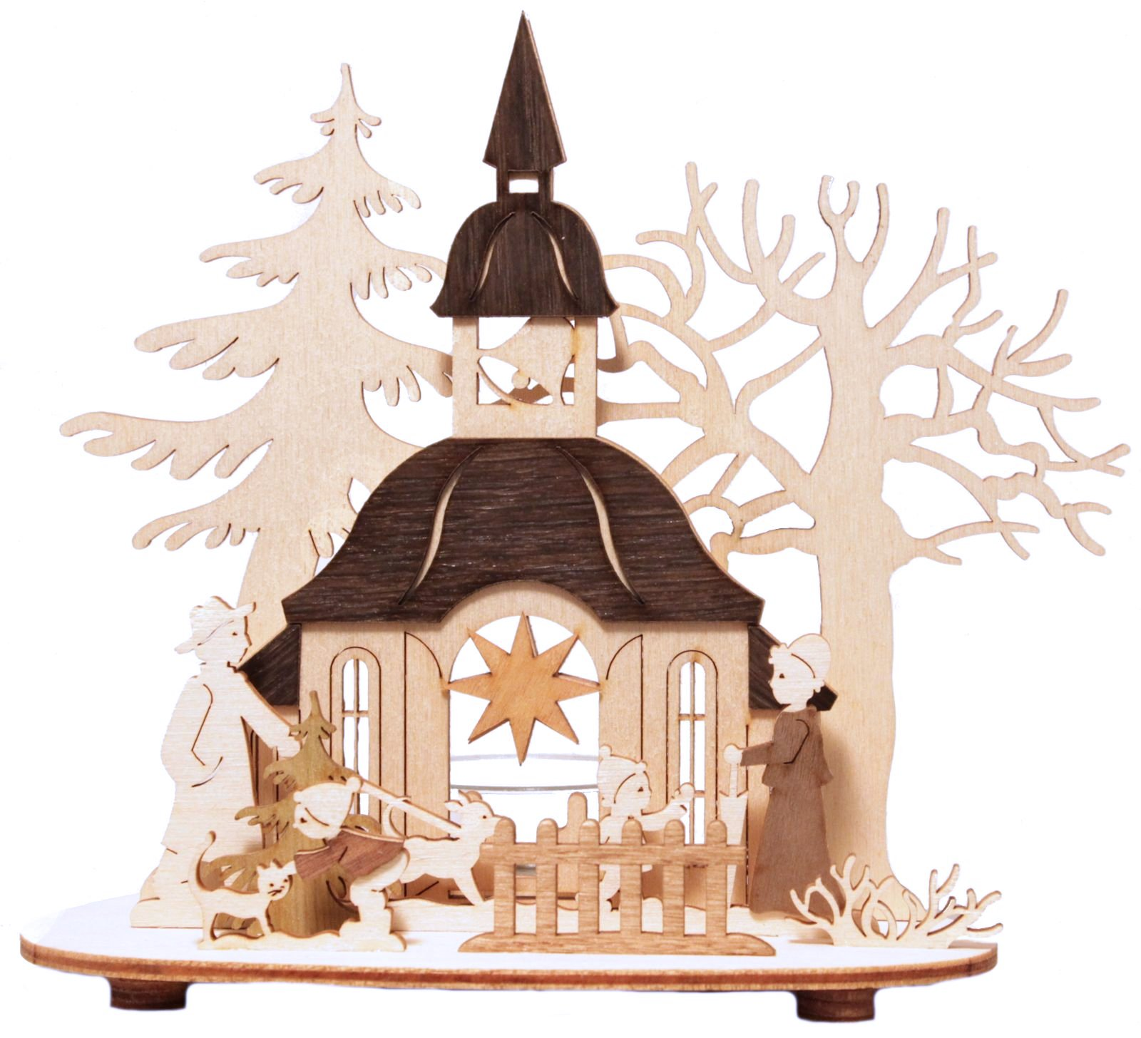 with trees wooden german christmas candle holder church with trees ...