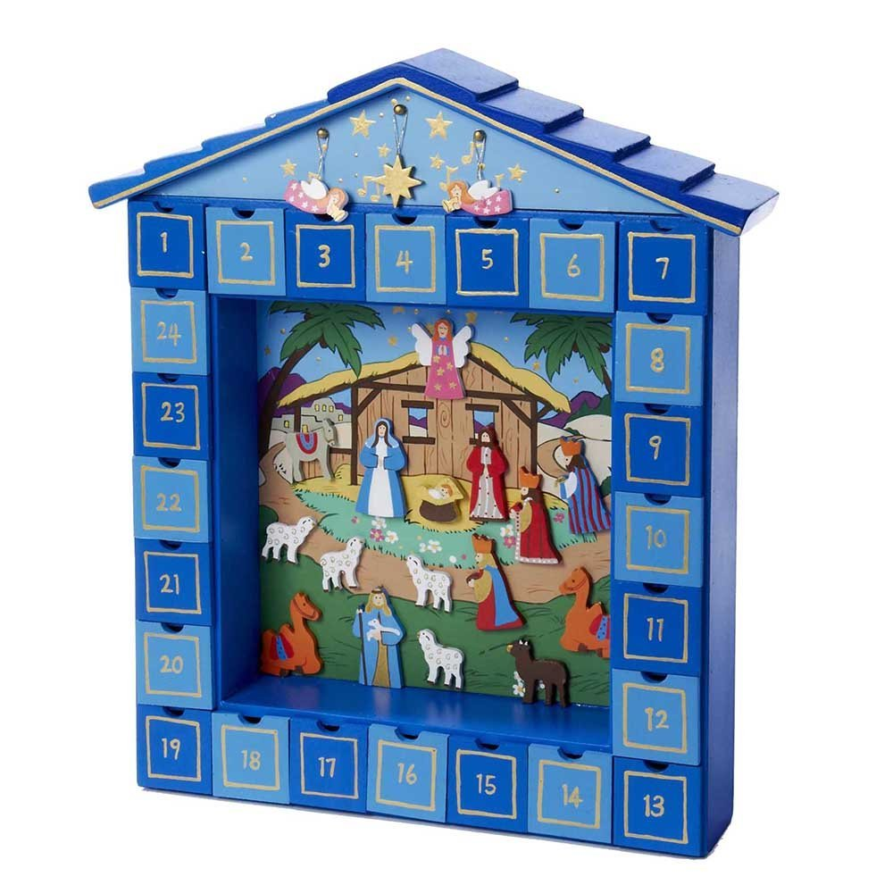 Christmas Nativity Scene Wooden Magnetic Advent Calendar